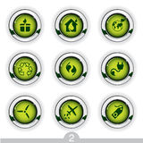 Ecology button series. Set of nine detailed ecology metallic buttons from series Royalty Free Stock Image