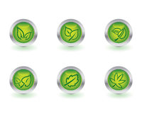 Ecology buttons. Set of six ecology buttons.  More buttons and icons in my portfolio Stock Images