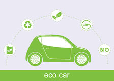 Ecology car and associated eco icons. Ecological green car and associated icons isolated Royalty Free Stock Photo