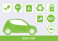 Ecology car and  eco icons. Ecological green car and associated icons isolated Royalty Free Stock Images