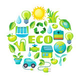 Ecology Cartoon Composition. With green floral elements electric car sun house windmill recycling sign globe water drop vector illustration Royalty Free Stock Images