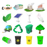 Ecology cartoon icons set Royalty Free Stock Photos