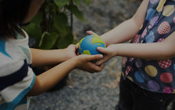 Ecology children sharing and support save the world royalty free stock images