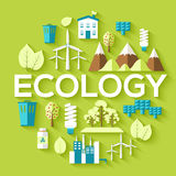 Ecology circle infographics template concept. Icons for your product or design, web and mobile applications. Vector flat. With long shadow illustration on blue Royalty Free Stock Photos