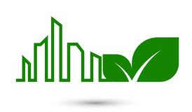 Ecology city abstract concept,green leaves. Ecology concept city abstract concept,green leaves Stock Illustration