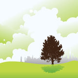 Ecology cityscape. Ecology and environmental abstract cityscape background, illustration Stock Photo