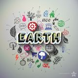 Ecology collage with icons background Royalty Free Stock Photo