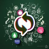 Ecology collage with icons on blackboard Royalty Free Stock Photography