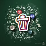 Ecology collage with icons on blackboard Stock Photography