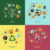 Ecology Colored Compositions. Four square ecology colored compositions with green world ecology organic descriptions vector illustration Royalty Free Stock Photography