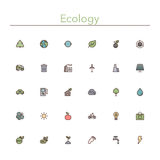 Ecology Colored Line Icons. Ecology and Recycling colored line icons set. Vector illustration. Geometric background Royalty Free Stock Photo