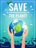 Ecology Colored Poster. With planet in the hands and save the planet headline vector illustration stock illustration