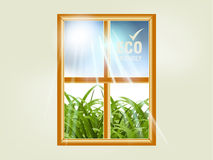 Ecology concept. Small window and natural view through it Stock Photo