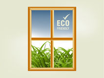 Ecology concept. Small window and natural view through it Royalty Free Stock Image