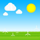 Ecology concept abstract background with sun cloud sky wind turb Royalty Free Stock Photos