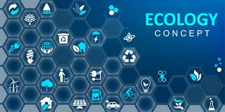 Ecology concept background. Set of ecology icons – vector vector illustration