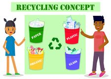 Ecology concept. Boy and girl pointing to garbage cans. Environmental protection and recycling. Vector illustration. royalty free illustration