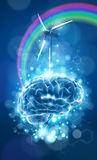 Ecology concept: brain, rainbow & windmill. Wind power generator, blue bokeh abstract light background  / vector illustration / eps10 Stock Image