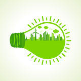 Ecology concept with bulb Royalty Free Stock Photography