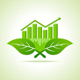Ecology Concept - business graph with leaf Stock Photography