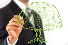 Ecology concept. Business man hand drawing ecology concept icons, grouped inside green tree Stock Photo
