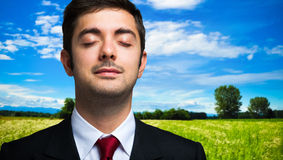 Ecology concept, businessman relaxing in the country Stock Photo