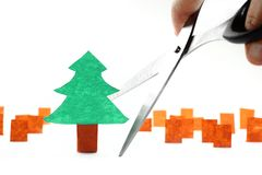 Ecology concept: cutting the last tree Stock Photo