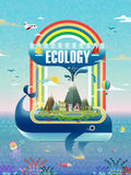 Ecology concept design. Environmental elements with whale spouts Royalty Free Stock Photography