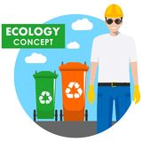 Ecology concept. Detailed illustration of garbage man and different types of dumpsters on blue background in flat style. Vector il Royalty Free Stock Photography