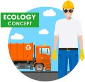 Ecology concept. Detailed illustration of garbage man and garbage truck on blue background in flat style. Vector Stock Photo