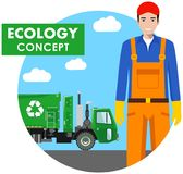 Ecology concept. Detailed illustration of garbage man and garbage truck on blue background in flat style. Vector illustration. Stock Images