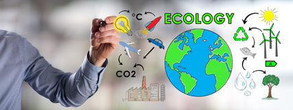 Ecology concept drawn by a man. Man drawing an ecology concept royalty free stock photo