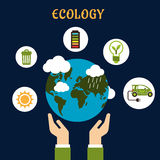 Ecology concept with earth globe in hands Stock Photography