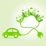 Ecology concept with eco car and cloud Royalty Free Stock Image