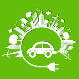 Ecology concept with eco car and cloud Stock Image
