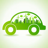 Ecology concept with eco car Stock Photos