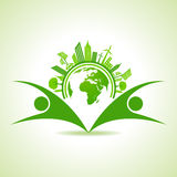 Ecology Concept - eco cityscape with earth and people Stock Photo