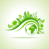 Ecology Concept - eco cityscape with earth Stock Photos