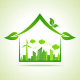 Ecology Concept - eco cityscape with home Stock Photos