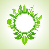 Ecology concept -eco cityscape with leaf around the circle Royalty Free Stock Photography