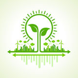 Ecology Concept - eco cityscape with leaf and bulb Royalty Free Stock Photography