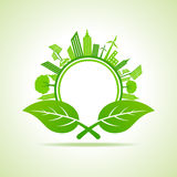 Ecology Concept - eco cityscape with leafs Stock Photography