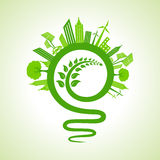 Ecology concept - eco cityscape with light-bulb and leaf icon Stock Photo