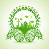 Ecology concept - eco cityscape with paisley design Stock Photo
