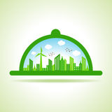 Ecology Concept - eco cityscape with platter Royalty Free Stock Photos