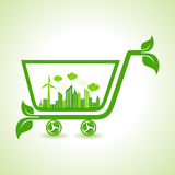 Ecology Concept - eco cityscape with shopping cart vector illustration