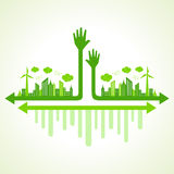 Ecology concept with eco hand Royalty Free Stock Photography