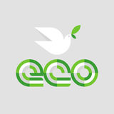 Ecology concept with eco lettering and white peace dove Royalty Free Stock Photo