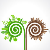 Ecology concept with eco and polluted cities. vector illustration Royalty Free Stock Image