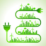 Ecology concept with electric plug- save nature Stock Image